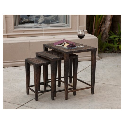 Home Loft Concept Santiago 3 Piece Wicker Nesting Table Set