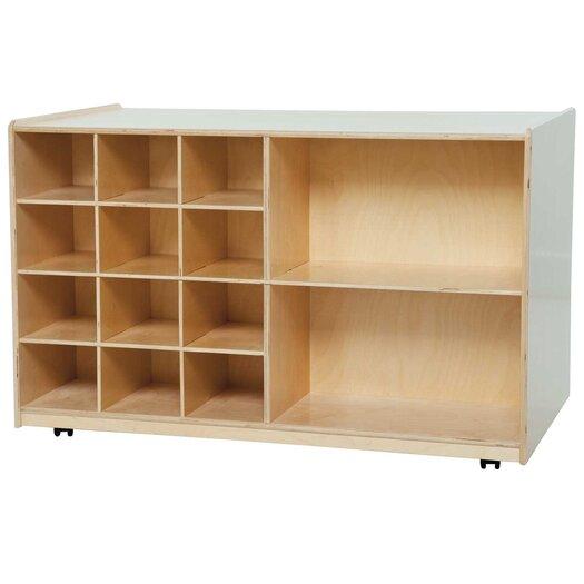 Wood Designs Double Mobile Storage Unit 14 Compartment Cubby