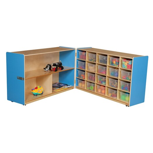 Wood Designs Half and Half Storage Unit with 20 Clear Trays