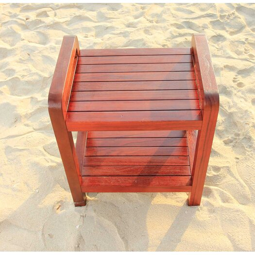 Decoteak Outdoor Teak Storage Bench Shelf Bookcase or End Table