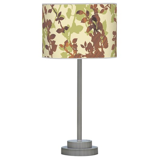 "Jef Designs Organic Modern Leaf Stem 24"" H Table Lamp with Drum Shade"