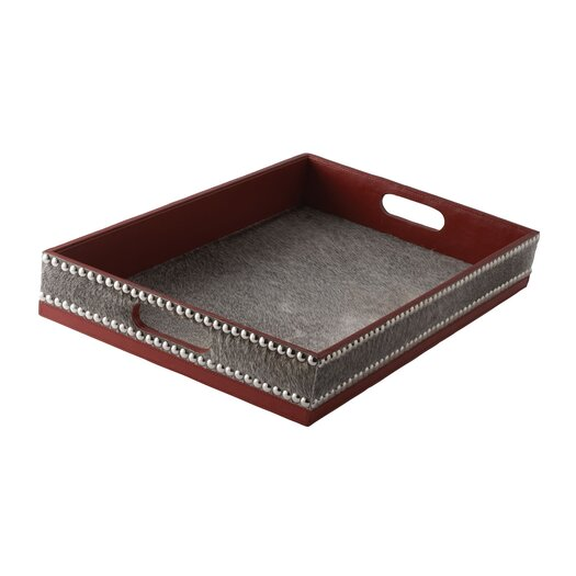 Lazy Susan USA Faux Pony and Faux Leather Tray