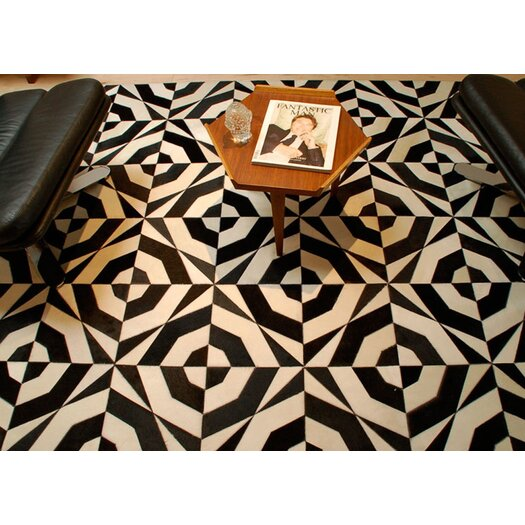 Pure Rugs Patchwork Cowhide No. 1 Black/Gray Area Rug