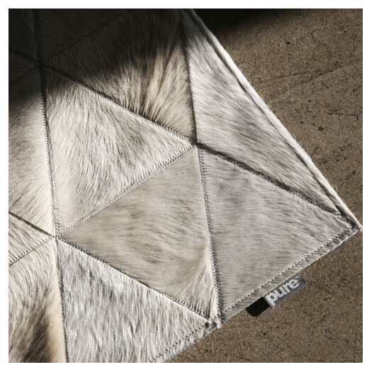 Pure Rugs Patchwork Cowhide Kahn Ivory Area Rug