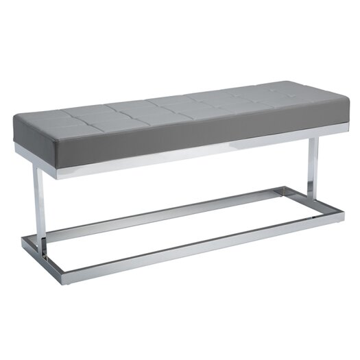 Sunpan Modern Viceroy Metal / Leather Entryway Bench