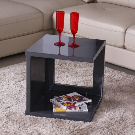 Fox Hill Trading Glossy Functional Cube Coffee Table