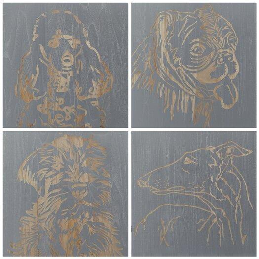 Selamat Dog 4 Piece Graphic Art Plaque Set