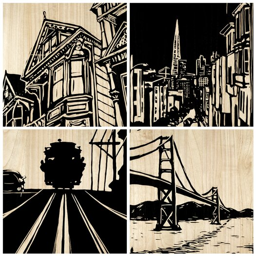 Selamat San Francisco City 4 Piece Graphic Art Plaque Set