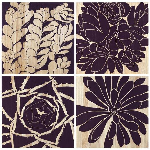 Selamat Succulent 4 Piece Graphic Art Plaque Set