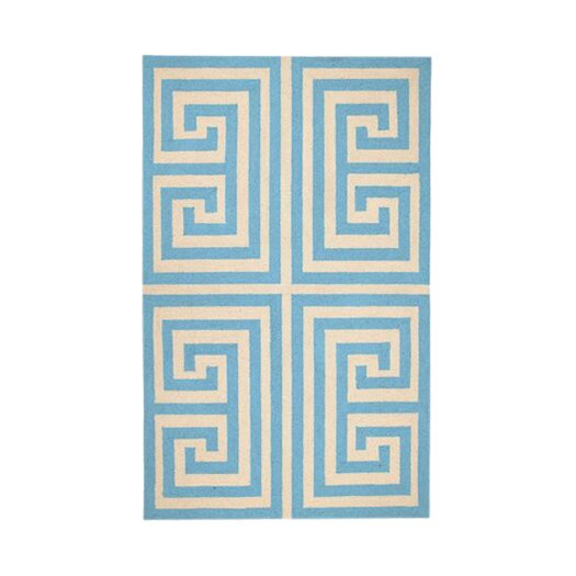Trina Turk Residential Greek Key Blue Geometric Area Rug