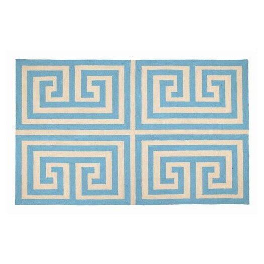 Trina Turk Residential Greek Key Blue Geometric Area Rug
