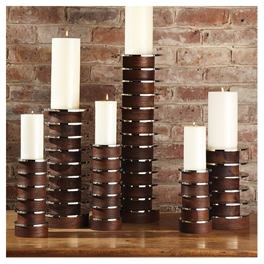 Global Views Short Stacked Plate Candle Holder