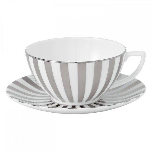 Jasper Conran Platinum Fine Bone China Striped Teacup