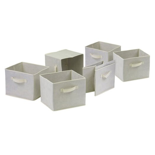Winsome Capri Foldable Fabric Crates in Beige