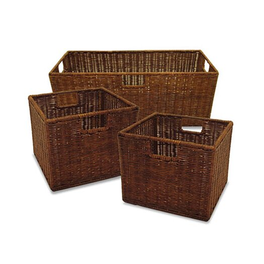 Winsome 3 Piece Walnut Storage Basket Set