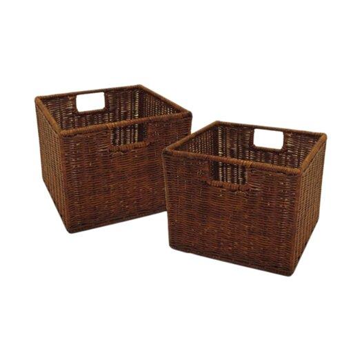 Winsome Walnut Small Storage Basket