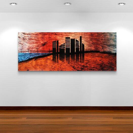 Metal Art Studio City Silhouette Graphic Art Plaque
