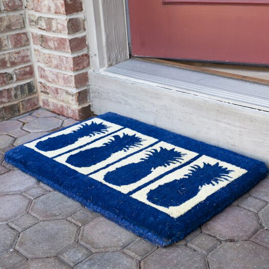 Entryways Four Pineapples Extra Thick Handwoven Coconut Fiber Doormat
