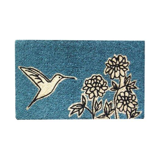 Entryways Flower and Hummingbird Handwoven Coconut Fiber Doormat