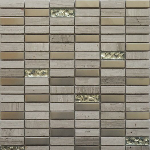 """Faber Fusion Series 5/8"""" x 2"""" Mixed Metal Glass Marble Mosaic in Multi"""
