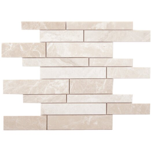 Faber Alara Crema Strips Random Sized Marble Brushed Mosaic in Light Beige