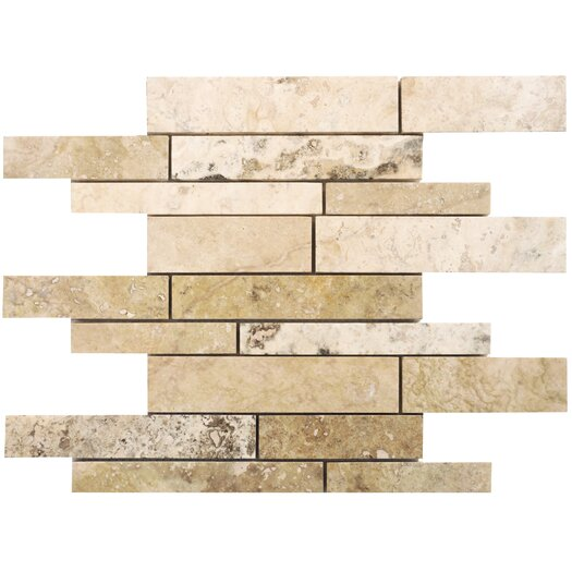 Faber Philadelphia Random Sized Strip Filled and Honed Travertine Mosaic in Beige and Gray