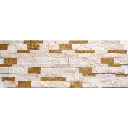 Faber Travertine Split Face Random Sized Wall Cladding Mosaic in Ivory-Noce Mix