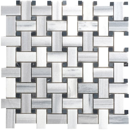 Faber Equator Random Sized Marble Mosaic Basketweave Polished Tile in White and Gray