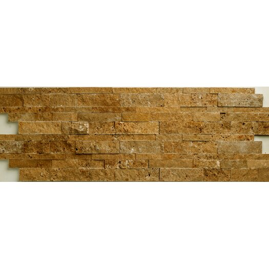 Faber Noce Travertine Split Face Random Sized Wall Cladding Mosaic in Brown
