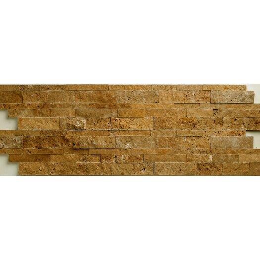 Faber Noce Travertine Split Face Random Sized Wall Cladding Tile in Brown