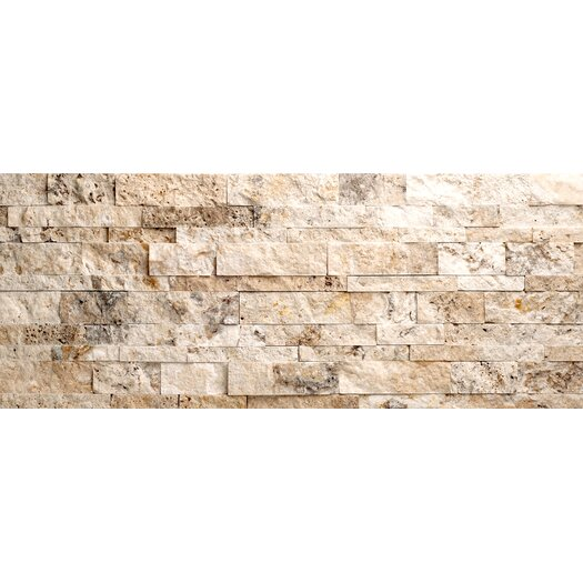 Faber Philadelphia Travertine Split Face Random Sized Wall Cladding Mosaic in Beige and Gray