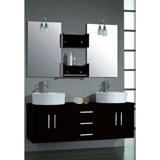 """Cambridge Plumbing Hematite 59"""" Wall Mount Double Bathroom Vanity Set"""