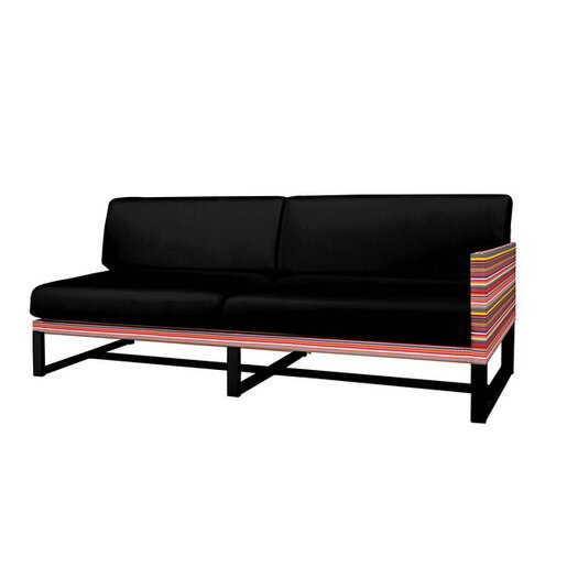 Mamagreen Stripe Aluminum / Mesh Left Sectional with Cushion