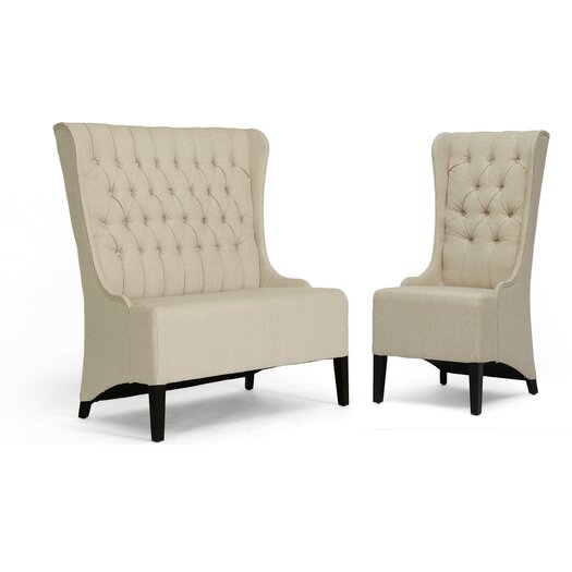 Wholesale Interiors Baxton Studio Vincent  Loveseat Bench and Chair Set