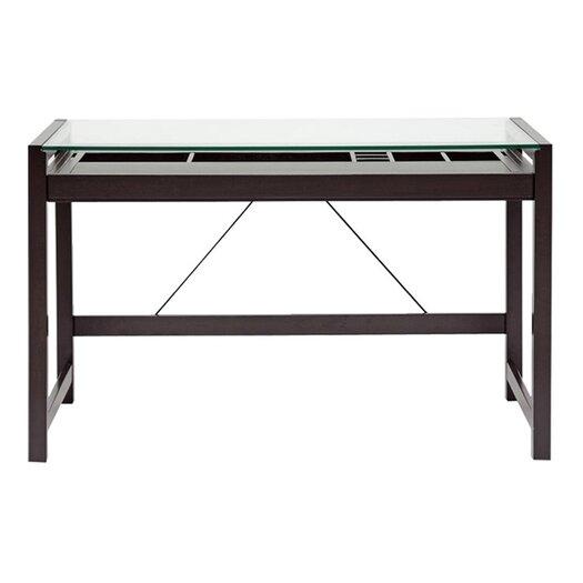 Wholesale Interiors Baxton Studio Idabel Wood Modern Writing Desk with Glass Top