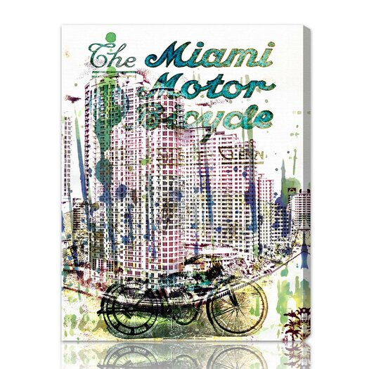 "Oliver Gal ""Miami Motorcycle"" Vintage Advertisement on Canvas"