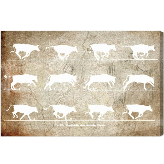 Cows in Motion Graphic Art on Wrapped Canvas