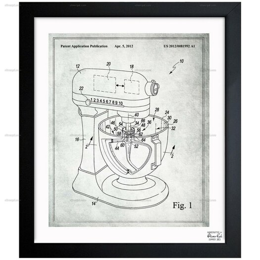 Stand Mixer Wiping Beater 2012 Framed Graphic Art on Wrapped Canvas