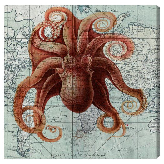 Oliver Gal 'Octopus' Graphic Art on Canvas