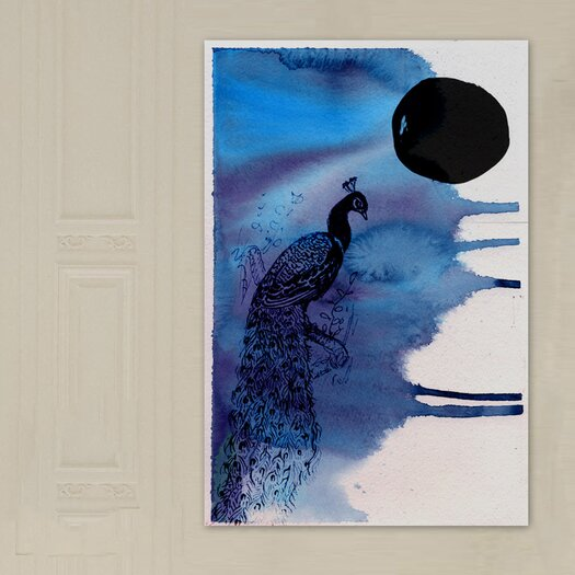 """Oliver Gal """"Indian Peafowl"""" Painting Print on Canvas"""