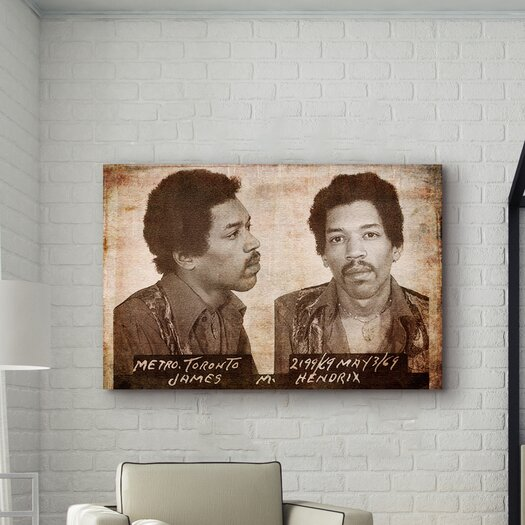 Oliver Gal ''Jimmy Hendrix Mugshot'' Graphic Art on Canvas