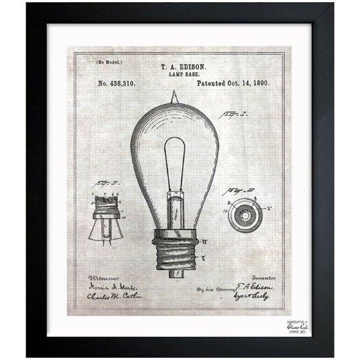 Oliver Gal Edison Lamp Base 1890 Framed Graphic Art