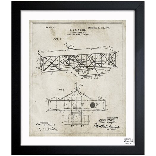 Oliver Gal Wright Flying-Machine 1906 Framed Graphic Art