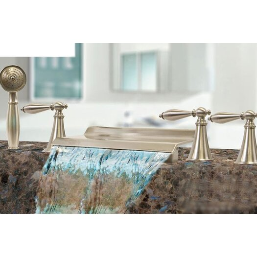 Kokols Triple Handle Deck Mount Waterfall Tub Filler with Handshower