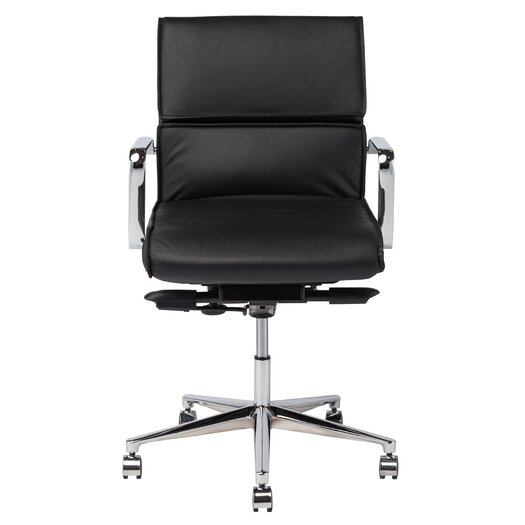 Lucia Low-Back Leather Office Chair with Arms