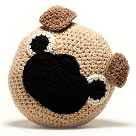 Peanut Butter Dynamite Crochet Acrylic Pug Pillow