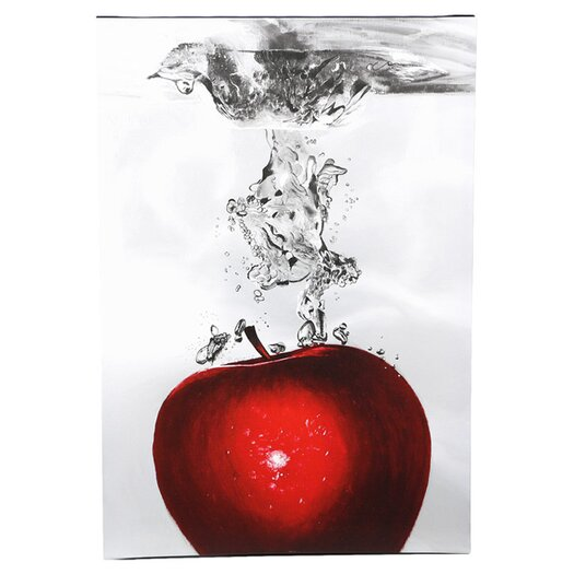Trademark Fine Art Red Apple Splash by Roderick Stevens Painting Print Art on Canvas