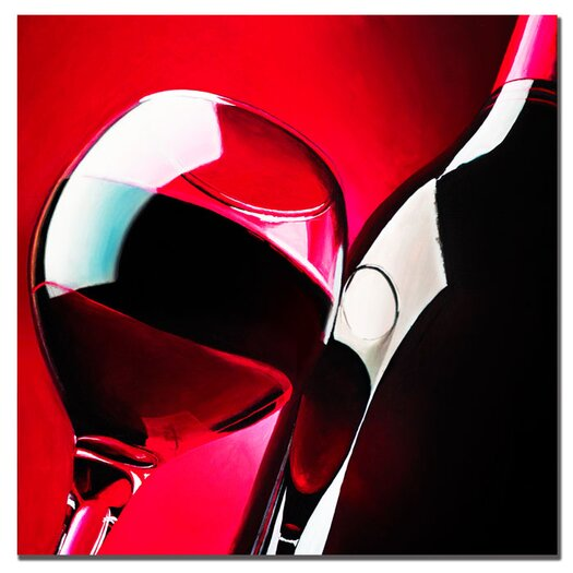 "Trademark Fine Art ""Red Wine"" by Roderick Stevens Painting Print on Wrapped Canvas"