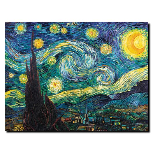 Trademark Fine Art Starry Night by Vincent Van Gogh Painting Print on Canvas