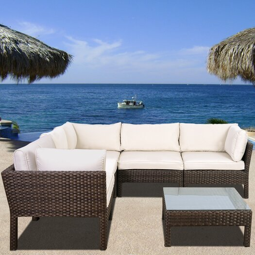 International Home Miami Atlantic St. Etienne 6 Piece Seating Group with Off White Cushions